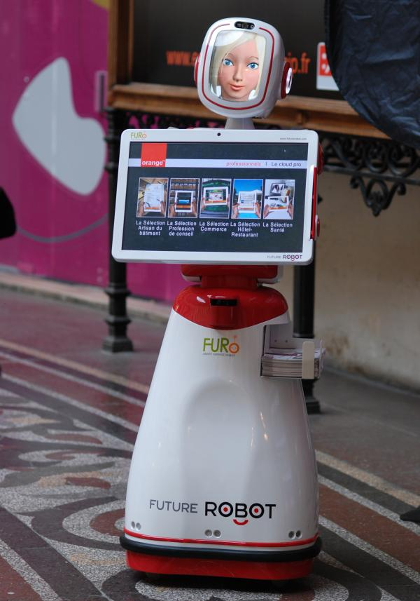 Future Robot's FURo robot acts as a host.