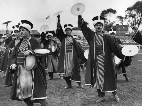 The Mehter Turkish Army Band, wearing traditional Ottoman Era costumes, in a 1957 photo.