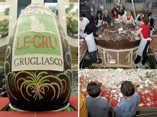 In 2004, a shopping center in Turin attempted to make the world's tallest Easter egg. This one was more than 18 feet tall and weighed 5,500 pounds.