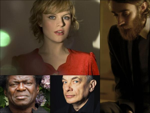 Clockwise from upper left: Olof Arnalds, Keaton Henson, Karl Bartos and Charles Bradley