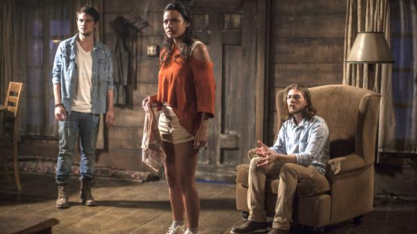David (Shiloh Fernandez), Olivia (Jessica Lucas) and Eric (Lou Taylor Pucci) fall victim to demonic terrors in the gritty horror remake <em>Evil Dead</em>.