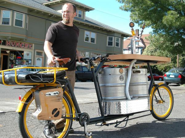 "Oh, Portland: the Hopworks Urban Brewery's ""pub bike."""