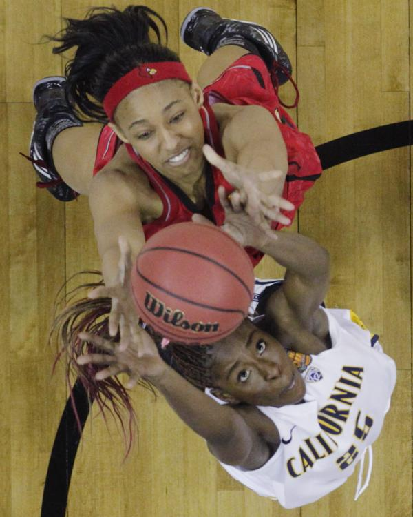 California forward Gennifer Brandon (No. 25) and Louisville forward Cortnee Walton (No. 13) go after a rebound in the second half of a national semifinal game Sunday.