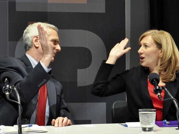 Jared Bernstein and Karen Kornbluh, who argued for keeping the minimum wage, celebrate their win in an <em>Intelligence Squared U.S.</em> debate.