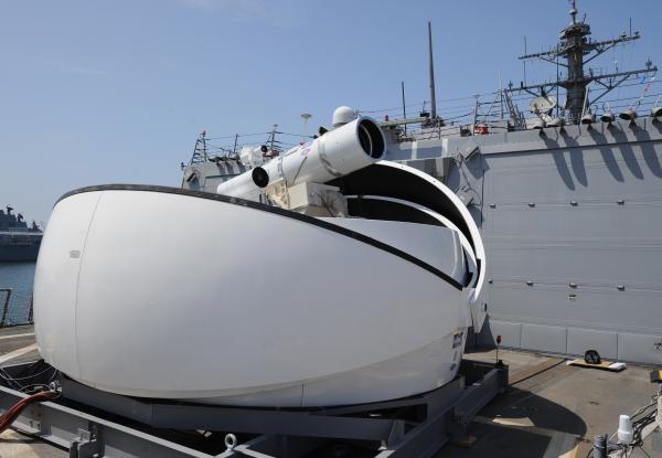 The Laser Weapon System (LaWS) temporarily installed aboard the guided-missile destroyer USS Dewey in San Diego, Calif.
