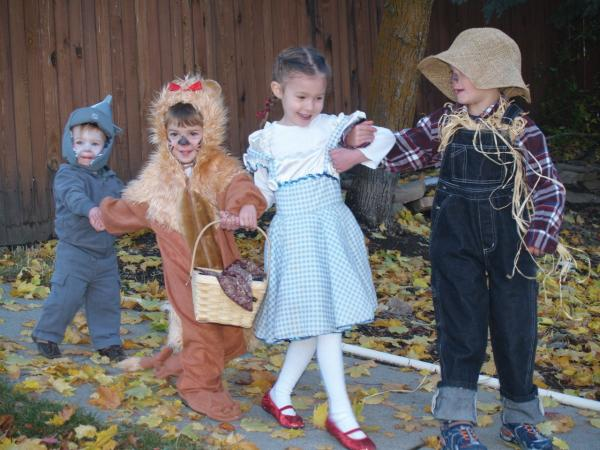 """'We're off to see the Wizard' ... my amazing children (5, 4, 2 and 1) sang as they acquired more and more candy from the neighbors."" — Bethany Jones"