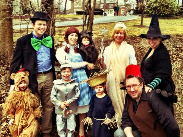 """Here is the Wolkenfeld Family dressed for Purim 2013. The theme was chosen collectively, and the kids worked out who should be which character. Top, from left: Rabbi David Wolkenfeld, Sara Wolkenfeld, Sophie (1), Grandma Jo Lang, Aunt Debra Tillinger. Bottom: Hillel (4), Noam (6), Akiva (4), and Uncle Richie Miller."" — submitted by <a href=""http://drmermaid.tumblr.com/"">drmermaid</a>"