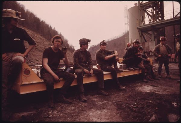 Miners wait to start their shift at Virginia-Pocahontas Coal Co. near Richlands, Va., 1974.