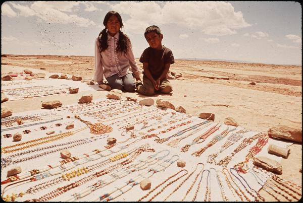 Beads for sale, Navajo Indian Reservation, Coconino County, Ariz.