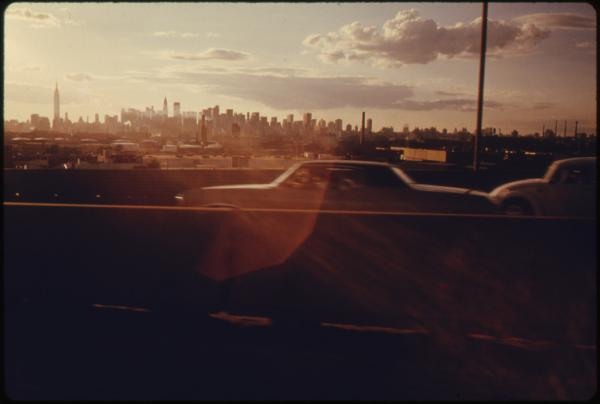 Midtown skyline of New York City, seen from Queens, 1974.