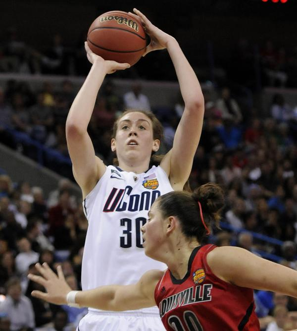 Connecticut Huskies forward Breanna Stewart takes a shot during first-half action in the women's Division I NCAA championship game Tuesday night in New Orleans. She was the tournament's most outstanding player.