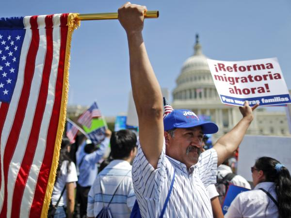 Rigoberto Ramos from Seaford, Del., originally from Guatemala, rallies for immigration reform in front of the U.S. Capitol in Washington, Wednesday, April 10, 2013.