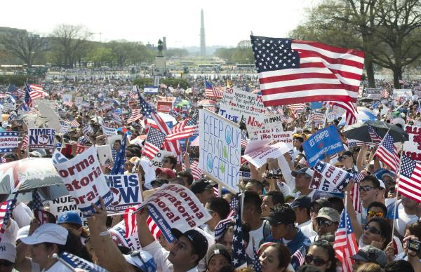 "Thousands of immigration reform supporters march in the ""Rally for Citizenship"" at the Capitol in Washington, D.C., on Wednesday."