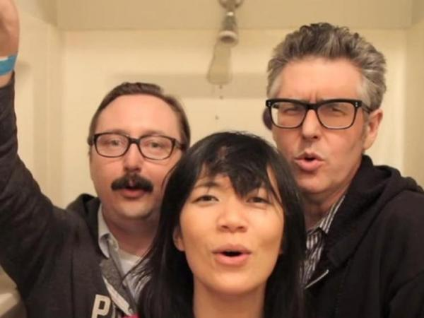 "<em>This American Life</em>'s Ira Glass and John Hodgman in a video for Thao Nguyen's song ""We The Common."""
