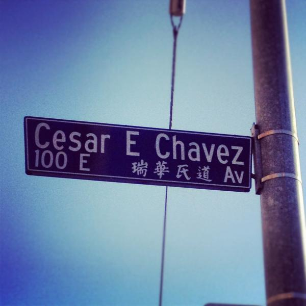 "At the intersection of César E. Chávez and Alameda in Los Angeles, where the historic Spanish/Mexican district of El Pueblo meets present-day Chinatown. Most of the time, I take the bus to Chinatown and get off here. The voice on the speakers always pronounces ""César E. Chávez"" in Spanish, but ""Alameda"" in English."