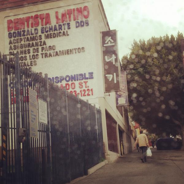 Two monolingual signs in Westlake, Los Angeles. I took this picture from the back seat of a car on one of those rare rainy day in LA. I don't see signs that are entirely in a non-English language very often.