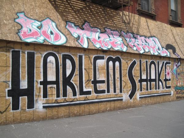 "In the wake of the ""Harlem Shake"" phenomenon in February, a wall was tagged with this sentiment: ""Do the real 'Harlem Shake.'"""
