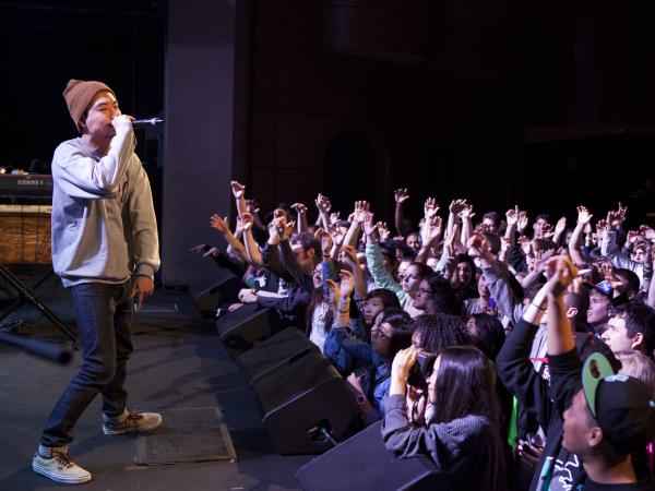 Korean-American rap artist Dumbfoundead performs at the Howard Theatre in Washington, D.C., on March 26.