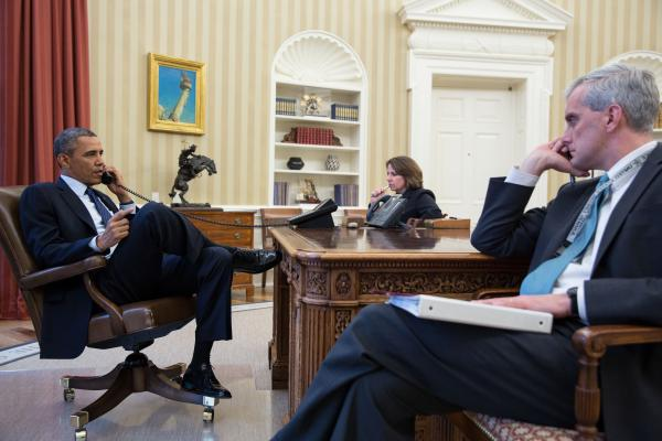 President Obama is updated on the Boston explosions by FBI Director Robert Mueller. Seated with the president are Lisa Monaco, assistant to the president for homeland security and counterterrorism, and Chief of Staff Denis McDonough.