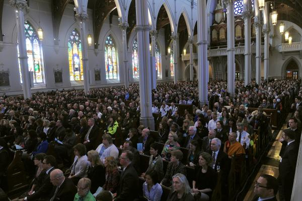 People attending the service at the Cathedral of the Holy Cross heard from leaders from a cross-section of faiths.