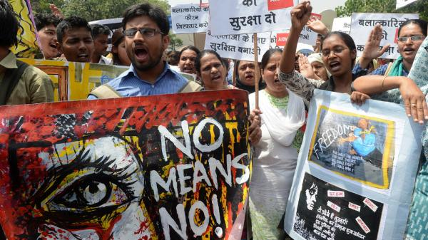 Indian protesters demonstrate Saturday in New Delhi against the alleged rape of a 5-year-old girl. The incident has reignited protests against sexual violence and the police response to such crimes.