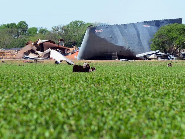 A view of the devastation from the fertilizer plant blast on Wednesday in West, Texas.