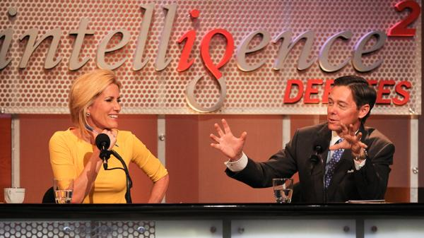 "Laura Ingraham and Ralph Reed argue against the motion ""The GOP Must Seize the Center or Die"" in an <em>Intelligence Squared U.S.</em> debate."