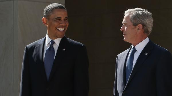 President Obama and former President George W. Bush at the dedication of the George W. Bush library in Dallas.