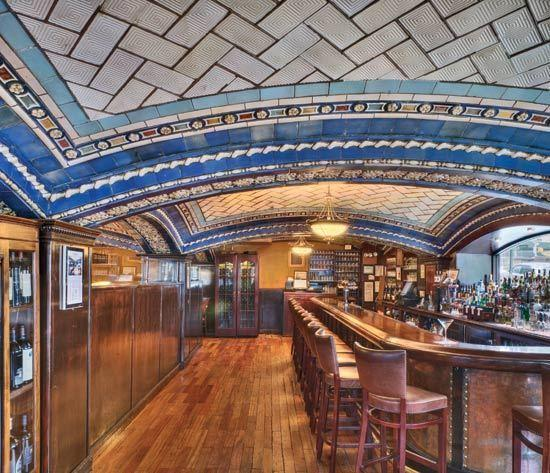 A closeup of the bar in New York City's Vanderbilt Hotel shows the intricate detail of the Guastavino Co.'s elegant ceiling work.