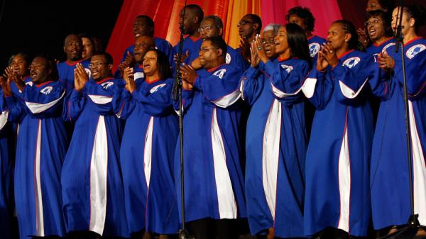 The Mississippi Mass Choir, seen here performing at the 2009 New Orleans Jazz & Heritage Festival, is one of the many gospel group's featured on KUNM's <em>Train to Glory</em>.