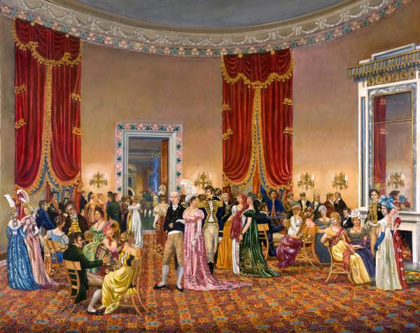 "In <em>The Splendid Mrs. Madison</em>, Waddell depicts First Lady Dolley Madison's drawing room, circa 1810–1814. Benjamin H. Latrobe designed the space — but wasn't happy with the curtains: ""Oh the terrible velvet curtains!"" he wrote. ""Their effect will ruin me entirely so brilliant they will be."" <a href=""http://bit.ly/jAA0Ay""><strong>Click here to explore the painting.</strong></a>"