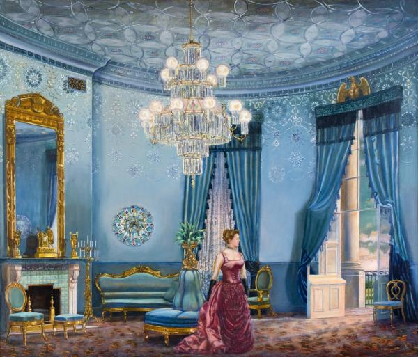 "Grover Cleveland, the only President to get married in the White House, married 21-year-old Frances Folsom, above, in the Blue Room in 1886. The blue furniture, as shown in Waddell's painting, <em>Something Blue</em>, is still in the White House collection. <strong><a href=""http://bit.ly/kwGSPW"">Click here to explore the painting.</a></strong>"