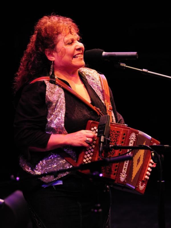 Eva Ybarra plays at the 2010 Accordion Kings and Queens festival in Houston, Texas.