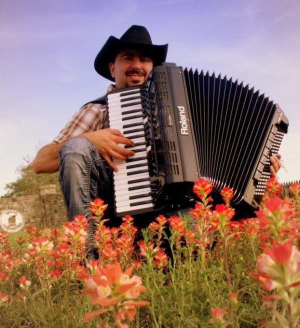 Chris Rybak with his Roland FR-7X digital accordion.