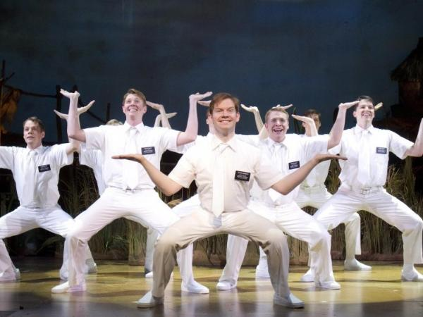 Rory O'Malley (center), who plays Elder McKinley in <em>The Book of Mormon</em>, is favored to win a Tony for Best Featured Actor in a Musical.