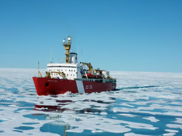 As Arctic temperatures rise, the Northwest Passage will be open up for longer periods of time. Here, the Louis slices through sea ice.