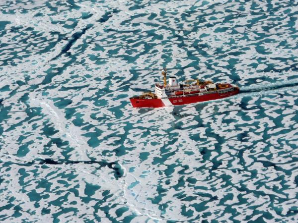 The Louis S. St Laurent icebreaker slices its way through the ice of the Northwest Passage.