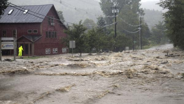 Flooding Sunday in Waitsfield, Vt.