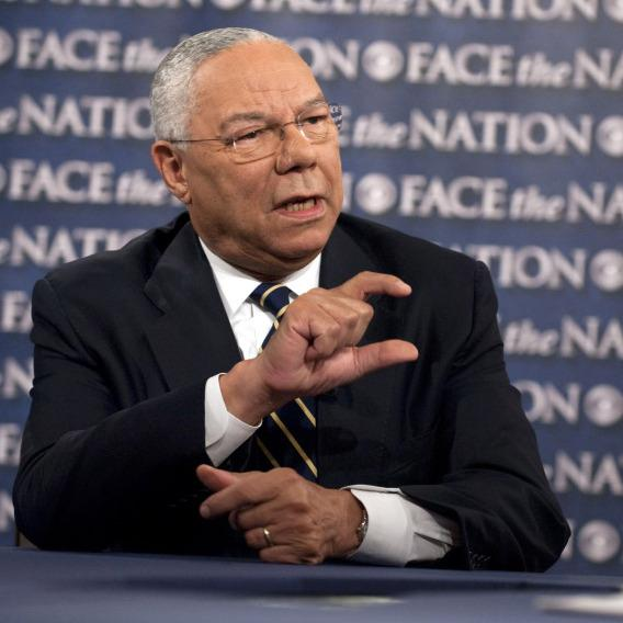 Former Secretary of State Colin Powell during his appearance Sunday on CBS News' <em>Face the Nation</em>.