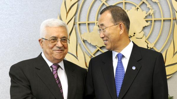 Palestinian Authority President Mahmoud Abbas (left) meets U.N.  Secretary-General Ban Ki-moon at the U.N. on Monday. Abbas says he will apply for Palestinian statehood after he addresses the General Assembly on Friday.