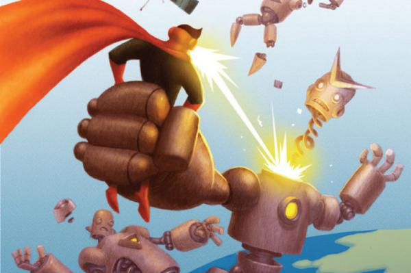 """Awesome Man, the creation of author Michael Chabon and illustrator Jake Parker, can shoot positronic rays out of his eyeballs. Click <a href=""""140749158"""">here</a> to read an excerpt of <em>The Astonishing Secret of Awesome Man</em>.<em></em>"""