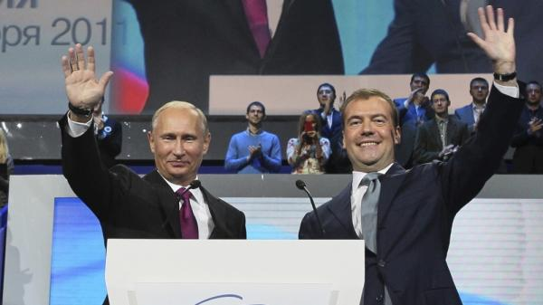 Russia's leading political party, United Russia, called for Prime Minister Vladimir Putin (left) and and  President Dmitry Medvedev to effectively switch jobs when Russia holds elections next year. Putin previously served as president from 1999-2008.