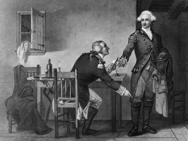 <p>American turncoat Benedict Arnold persuades Maj. John Andre to conceal papers in his boot and send them to the British to enable them to capture West Point in this print by C.F. Blauvelt and W. Wellstood circa 1785. </p>