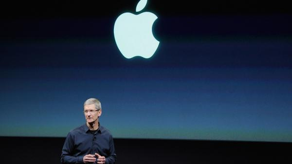 <p>Apple CEO Tim Cook speaks at the event introducing the new iPhone.</p>