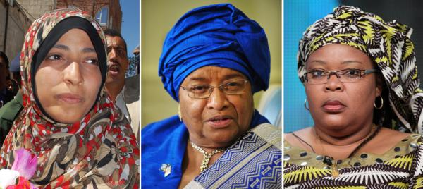 "<p>Left to right: Nobel Peace Prize laureates Tawakkul Karman of Yemen, President Ellen Johnson Sirleaf of Liberia and Liberian ""peace warrior"" Leymah Gbowee.</p>"