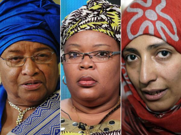 "<p>Left to right: Nobel Peace Prize laureates President Ellen Johnson Sirleaf of Liberia, Liberian ""peace warrior"" Leymah Gbowee and  Tawakkul Karman of Yemen.</p>"
