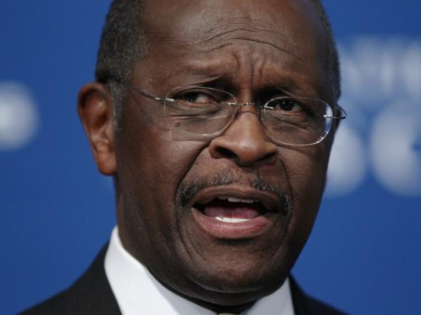 <p>Republican presidential candidate Herman Cain at The National Press Club today (Oct. 31, 2011). </p>