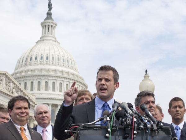 Rep. Adam Kinzinger at a July 28 news conference on Capitol Hill to announce plans to vote yes on the GOP proposal to raise the debt limit.