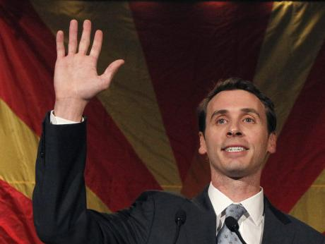 Rep. Ben Quayle waves to supporters on Nov. 2, 2010, at a Republican election night party in Phoenix.