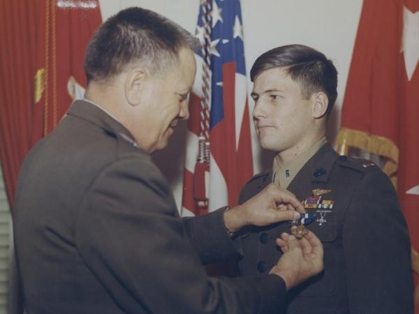 Karl Marlantes receives the Navy Cross in the winter of 1969-70.